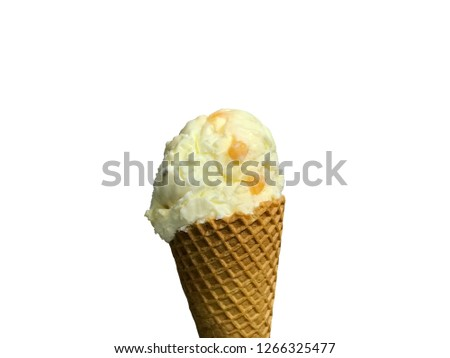 Hokey pokey ice cream on waffle cone famous New Zealand ice cream with vanilla flavor and small solid lumps of honeycomb toffee made from brown sugar syrup white background isolated hokey pokey  Stockfoto ©