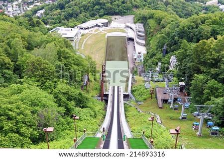 HOKKAIDO, JAPAN - JULY 10 2014 : Cable car at Okurayama Ski Jump Stadium also known as the Okurayama-Schanze  is a ski jumping venue located in the Miyanomori area in  Sapporo, Hokkaido, Japan.