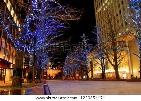 Hokkaido, Sapporo city, December 2, 2018, Sapporo Kita 3-jo Hiroba [akapura] venue Title, akapura illumination, It is the oldest street tree in Hokkaido, directing ginkgo trees in light. #1250854171
