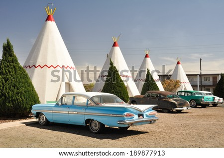 HOLBROOK, ARIZONA - MAY 4: Wigwam Motel on Route 66 on May 4, 2011 in Holbrook, Arizona. The rooms of this hotel are built in the form of tipis.