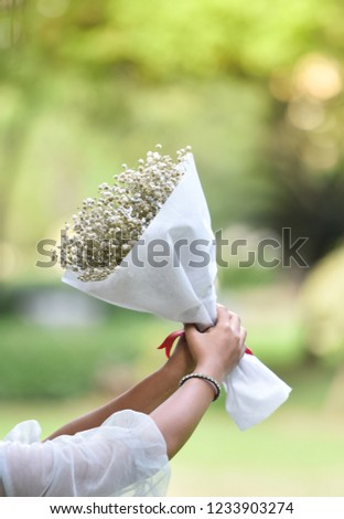 hold flower bouquet / wedding bouquet flower in bride hand beautiful to gift woman holding flowers on nature green background  #1233903274