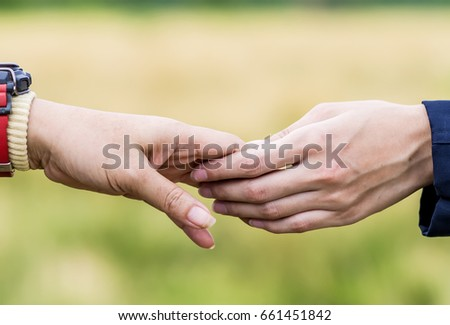 Woman And Man Holding Hands Happy Couple Lover In The Garden Ez
