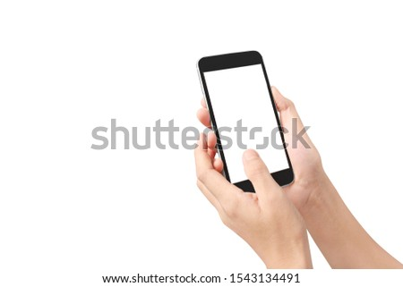 Hold mobile phones, smartphone in hand devices and touch screen technology #1543134491