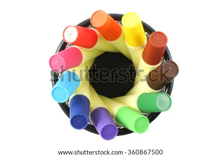 holder basket Colored markers isolated topview on white background