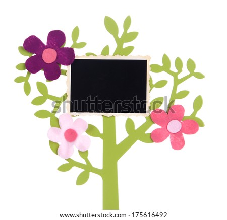 Holder in form of tree with instant photo card isolated on white