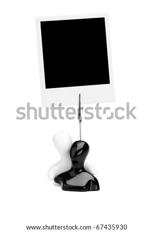 holder with instant photo card isolated on a white background.