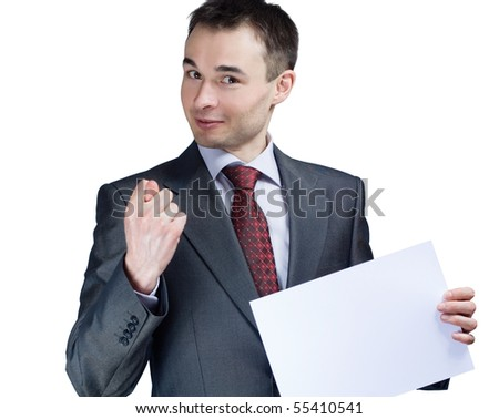 holding a blank paper businessman say no