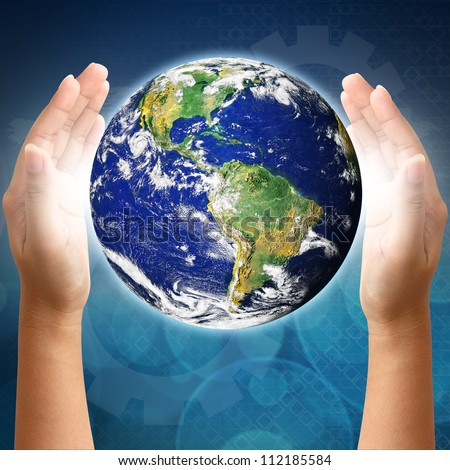 Holding a earth on hands. Earth image provided by Nasa.