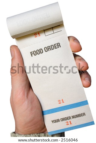 Holding a food order pad, ready for the order.