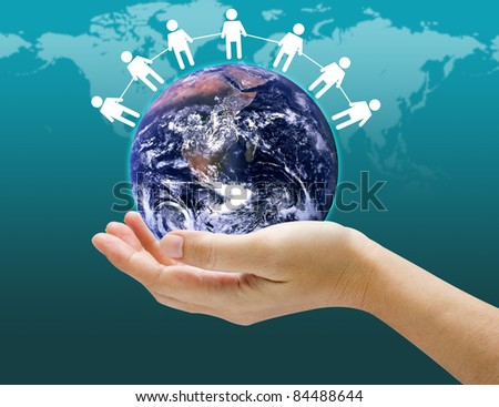 holding a glowing globe with social network icon in his hands Earth image provided by Nasa.