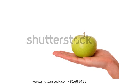 Holding a green apple