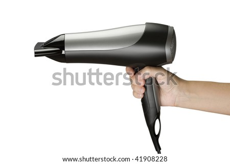 Holding a Hair Drier