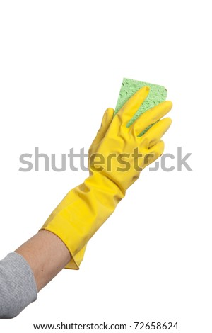 Holding a sponge isolated on white