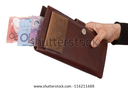 Holding a wallet with Australian dollar in white background