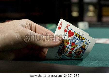 Holding a winning hand during poker game