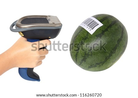 Holding and Scanning label on watermelon with bluetooth barcode scanner