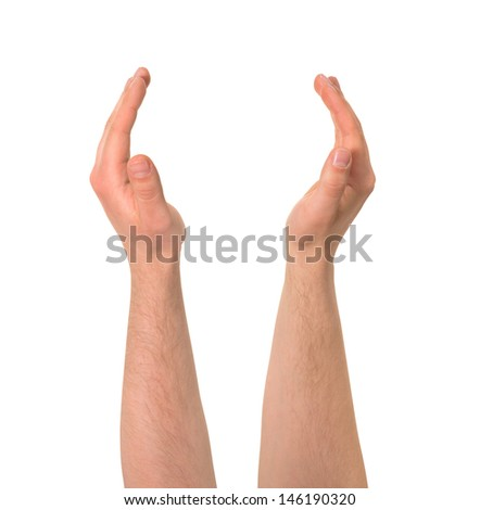 Holding between two palms caucasian hand gesture composition isolated over white background