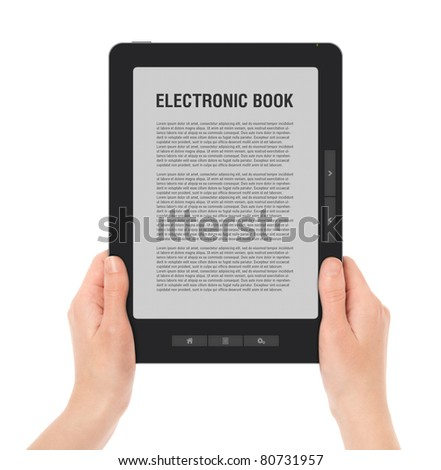 Holding E-book reader in hands. Include clipping path for screen and book with hands. LOREM IPSUM text on e-book screen.