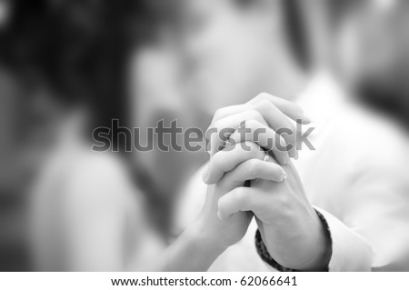 Shutterstock Holding hand groom and bride enjoying dancing