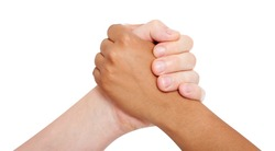 Holding hands couple of a mixed race isolated on white background