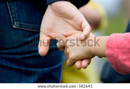 holding hands (mom and daughter)
