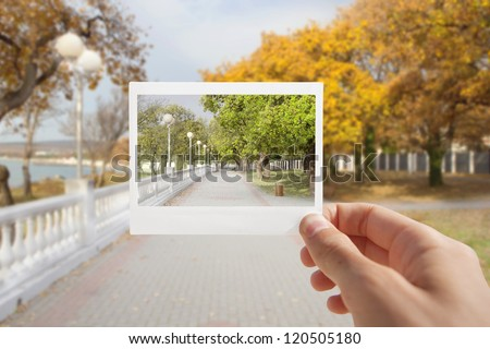 Holding Instant photo on a autumn background.