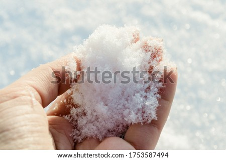 Holding natural soft white snow in his hand, outdoors. Winter day and snow in the hand. Sun glare is reflected in the snow. Hand holds cold snow. Spending time outdoors in winter.
