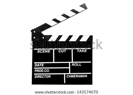 Holding out  clapper board or slate black board on white background with clipping path