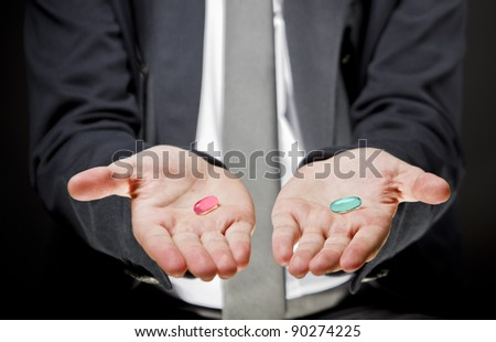 Holding pills in hand