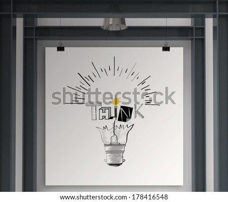holding poster show hand drawn light bulb and THINK word design as concept