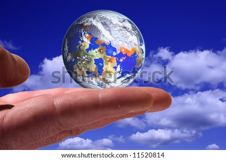 Holding the world on the hand