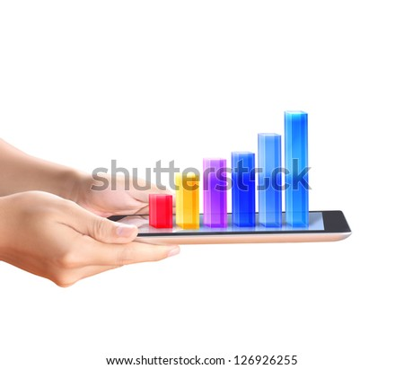holding touch screen tablet with a graph