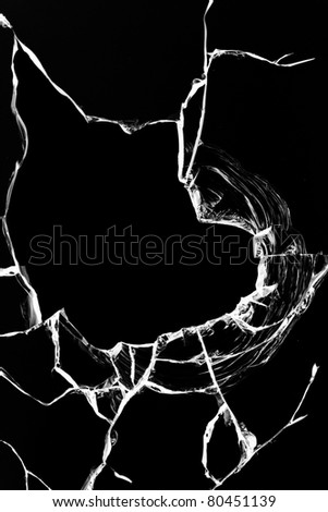Hole  glass  broken  black