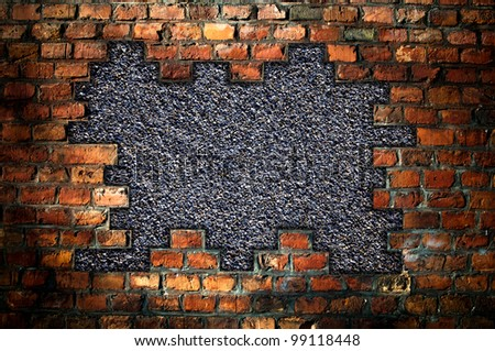 hole in an old brick wall - background