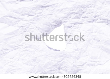 Hole in paper with white background inside