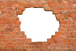 Hole in the brick wall, texture background,isolated, copy space