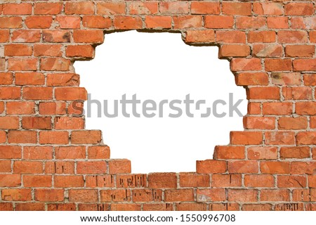 Hole in the brick wall, texture background,isolated, copy space Stock photo ©