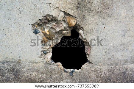 Hole in the destruction concrete wall,  bullet hole, abstract background free space for design Stock photo ©