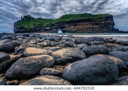 Hole in the Wall at Coffee Bay in South Africa with its big grey boulders have cultural beliefs for the Xhosa culture.
