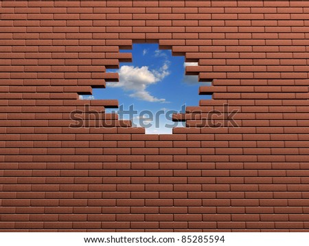Hole in the wall of bricks. 3d render illustration
