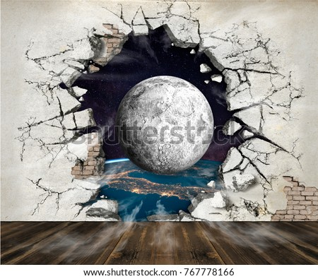 Hole in the wall, out into space. Photo wallpaper for the walls. 3D rendering.
