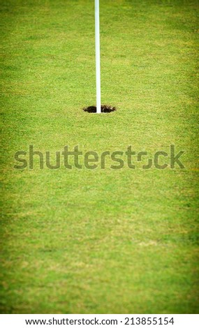 Hole on the putting green of a golf course with the flag in place and short neat manicured grass
