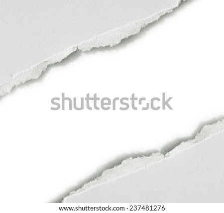 Hole ripped in paper. Copy space