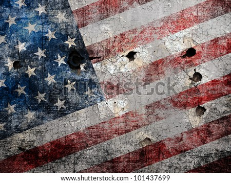 Holed grungy American flag background.