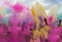 Holi festival color explosion powder