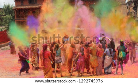 Holi festival of colors in India and Nepal