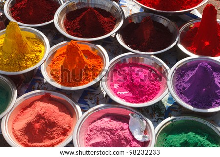 Holi India colored colorful powder kumkum on Indian bazaar for festival celebration