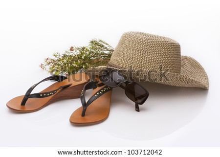 holiday accessories on white background