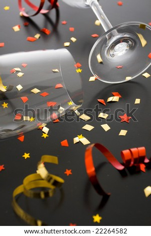 Holiday background, flutes and ribbons