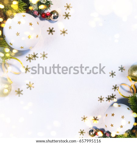 Holiday background, greeting card for Christmas and New Year #657995116